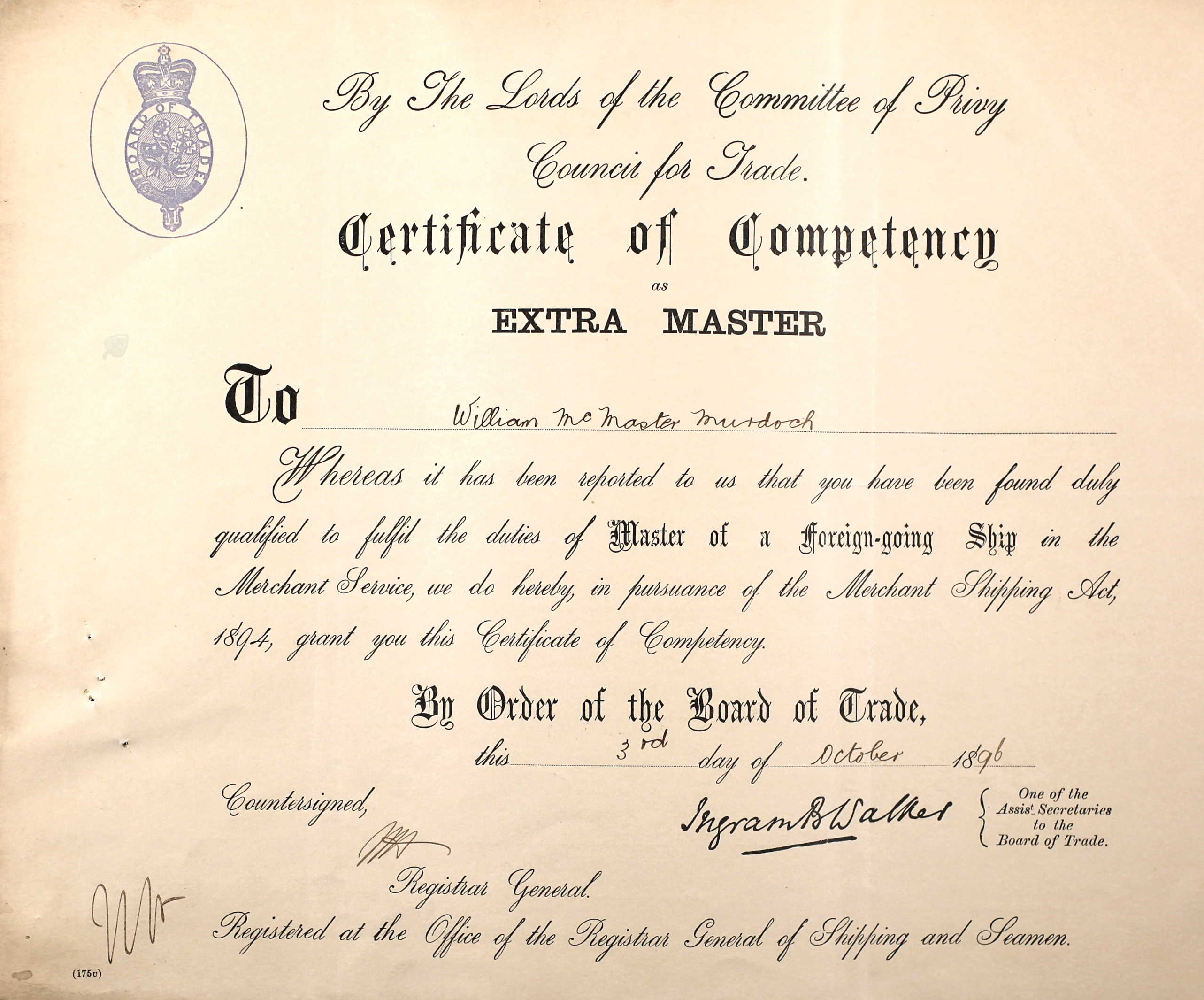 Murdochs merchant service records william murdoch the front of william murdochs extra masters certificate xflitez Gallery
